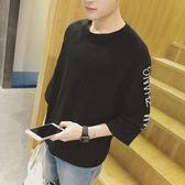 七分袖男t恤學生韓版bf寬鬆個性潮流韓國原宿風中袖五分袖T恤     初語生活