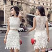 中大碼兩件式洋裝 女裝無袖蕾絲套裝裙短款背心裙掛脖露肩上衣 百搭高包臀腰裙 HT20145