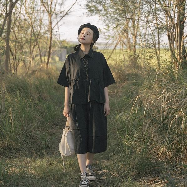 Queen Shop【01085298】不對稱荷葉造型襯衫洋裝 兩色售*現+預*