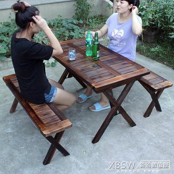 戶外防腐木桌椅庭院休閒實木室外燒烤店桌椅折疊便捷式桌椅組合CY『新佰數位屋』