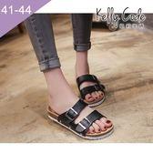 大尺碼女鞋-凱莉密碼-平價時尚勃肯款堅固加強版平底拖鞋2cm(41-44)【JY915】黑色