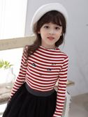 雙11鉅惠 女童t恤長袖2018新款秋裝打底衫韓版兒童上衣中大童條紋洋氣體恤 森活雜貨