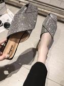 穆勒鞋包頭半拖鞋女夏新款百搭粗跟水鉆懶人穆勒鞋網紅時尚外穿涼拖 小天使