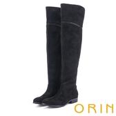 ORIN 微醺性感 燙鑽彈性絨布過膝低跟長靴-黑色