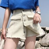 大碼夏季韓版高腰破洞牛仔短褲女寬松顯瘦a字裙褲裙闊腿熱褲【韓衣舍】