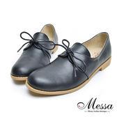 【Messa米莎專櫃女鞋】MIT英倫素面鞋翼內真皮綁帶牛津鞋-黑色