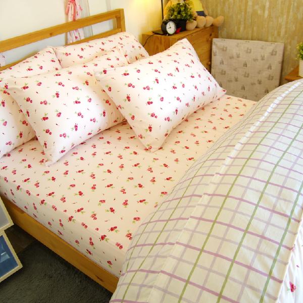 加大雙人床包組(含枕套)/ 100%精梳棉-粉玫瑰【大鐘印染、台灣製造】#精梳純綿