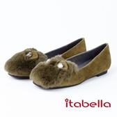 itabella.俏皮可愛-鑽石羊皮毛絨娃娃鞋(8596-43綠色)