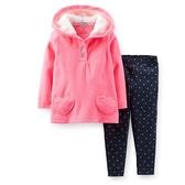 【美國Carter's】套裝2件組 - 粉紅愛心連帽保暖長袖上衣+長褲 #219A422