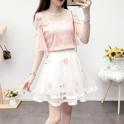 短袖套裝~3560#名媛風氣質輕熟可鹽可甜蕾絲衫網紗半裙兩件套H311-E胖妞衣櫥