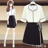 大碼女裝夏裝新款胖妹妹顯瘦洋氣減齡雪紡襯衫洋裝兩件套裝 安妮塔小鋪