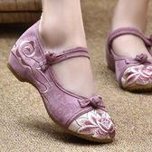 漢服棉鞋 漢服棉鞋 古風鞋子女漢服鞋低跟牛筋底防滑繡花鞋媽媽鞋廣場舞鞋   瑪麗蘇