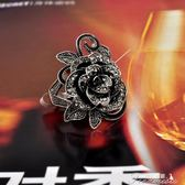 歐美簡約夸張合金鍍金水鑽鑲嵌復古戒指玫瑰花女款氣質飾品送女友新年下殺