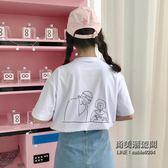 (交換禮物)ins短袖T恤女韓國學生卡通寬鬆百搭原宿BF半袖上衣