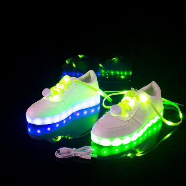 USB充電七彩發光女熒光LED帶燈鞋鞋底會亮鬼步鞋街舞情侶男女板鞋 LI2280『美鞋公社』