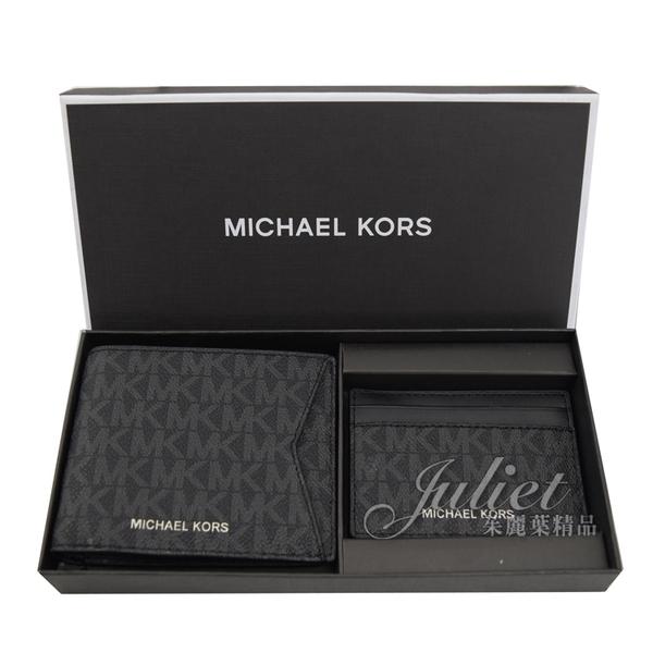 茱麗葉精品【全新現貨】MICHAEL KORS GIFTING 滿版字母短夾名片夾禮盒組.黑