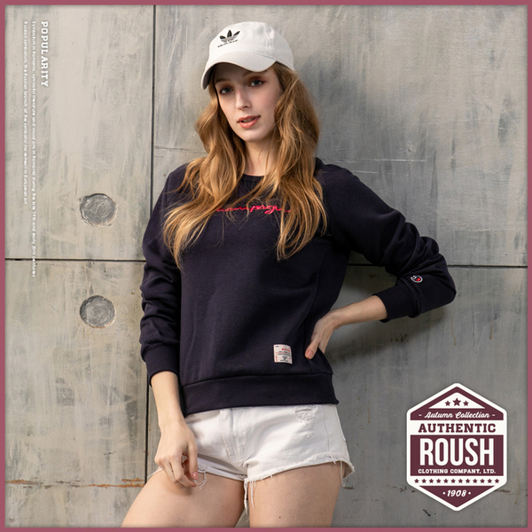 【Roush】 女生翻玩CHAMPION立體刺繡刷毛大學T -【912608】