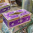 金屬合金紫色琺瑯鎖頭玫瑰花浮雕造型面紙盒/衛生紙盒【♘雅典娜家飾】