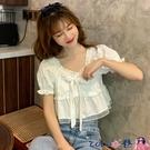 熱賣泡泡袖上衣 短款泡泡袖白襯衫女設計感小眾2021夏季新款上衣韓版寬鬆百搭襯衣 coco