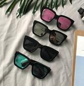 太陽鏡 日韓 女復古黑方框太陽鏡 韓版彩膜反光墨鏡 降價兩天