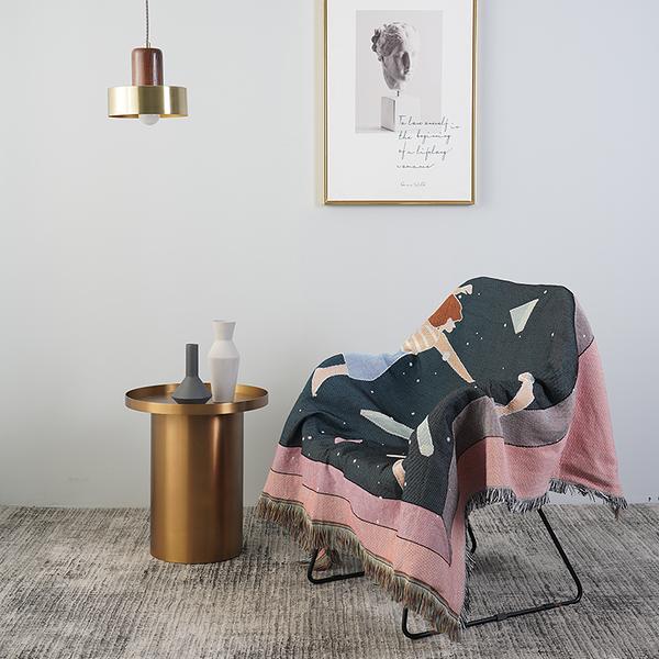 北歐純色緹花沙發巾 沙發布 全蓋沙發套 沙發墊 防塵布 線毯74 (130*160cm)