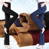 西裝褲 【四面彈力】秋冬大碼媽媽女褲微喇叭褲修身打底高腰加絨加厚褲女 雙12