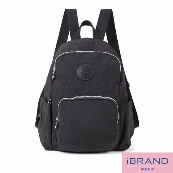 【南紡購物中心】iBrand後背包 輕盈防潑水防盜尼龍後背包-黑色 MDS-8526