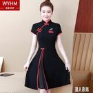 2020年洋裝新款洋氣旗袍改良版連身裙女復古中式中長款繡花裙子春 LR20131『麗人雅苑』