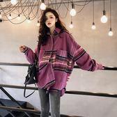 港風顯瘦oversize新款韓版寬鬆氣質慵懶格子泡泡袖毛呢襯衫外套女  西城故事