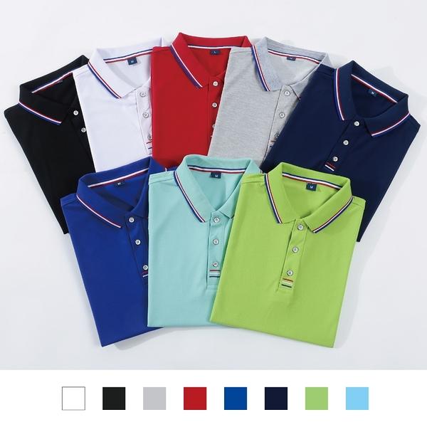 【晶輝團體制服】LS9908-吸溼排汗短袖滾邊配色POLO衫素面款式(印刷免費)一件也做工作服