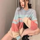 長袖毛衣 長袖針織上衣 秋季彩虹條紋毛衣上衣女N619 胖丫
