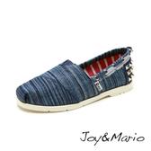 【Joy&Mario】牛仔鉚釘平底休閒鞋 - 61398W DENIM BLUE