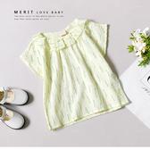 女童 純棉 小草綠意泡泡棉荷葉圓領上衣 短袖 夏日 薄款 透氣 舒適 葉子 黃色 休閒 自然