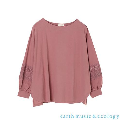 「Hot item」袖蕾絲拼接圓領蓬袖上衣 - earth music&ecology