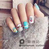 假指甲/可愛兒童貼片 哆啦A夢機器貓 成品美甲 24片裝指甲