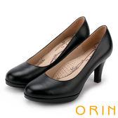 ORIN 簡約時尚 嚴選真皮質感素面高跟鞋-黑色