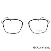 P+US 眼鏡 C1912A  (黑-金) 雙槓 薄鋼 近視眼鏡 久必大眼鏡