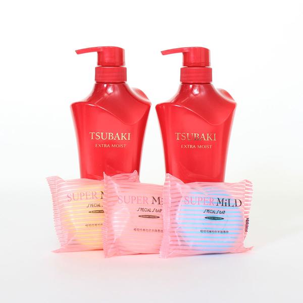 日本SHISEIDO 資生堂 TSUBAKI沐浴禮盒(洗髮精x2+羊脂皂x3)