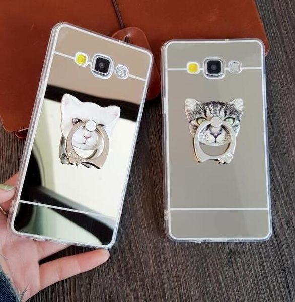【SZ】電鍍鏡面鏡子+貓咪指環支架iPhone 6 6S Plus 5S SE NOTE3/4/5 S5 S6 EDGE A5 A7 s6 手機殼 保護殼
