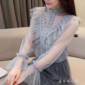 #春裝韓版兩件套網紗蕾絲衫拼接上衣(送吊帶) 千千女鞋