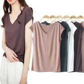 夏季小衫莫代爾無袖t恤女修身簡約薄款V領打底衫