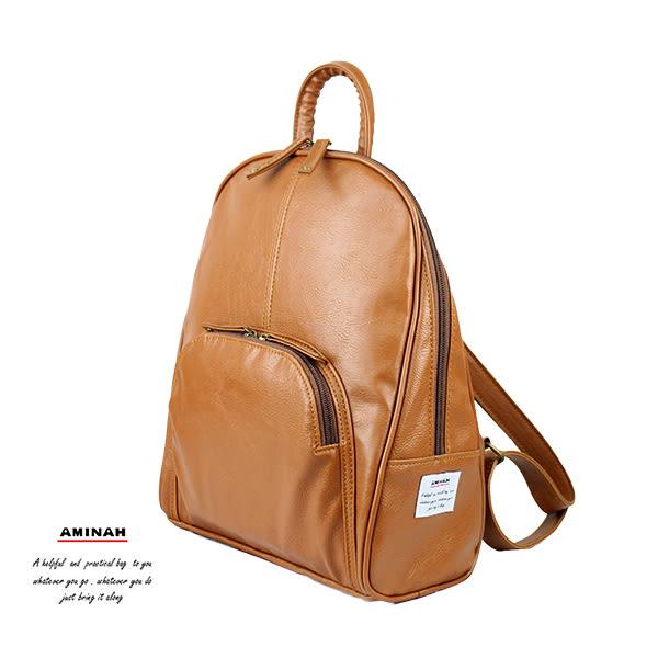 棕色典雅後背包  AMINAH~【am-0299】