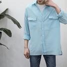FINDSENSE 時尚潮流 男 日系 休閒 寬鬆 文藝褶皺感 條紋襯衫 長袖襯