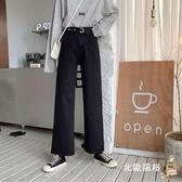 牛仔褲女寬松 高腰褲子牛仔褲女秋季2019新款黑色寬松顯瘦直筒褲百搭闊腿褲長褲