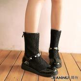韓版蕾絲鏤空網紗涼短靴夏天女鞋白