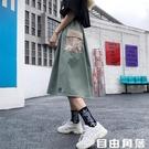 半身裙女夏日系少女穿搭韓版學生a字百褶長裙高腰包臀工裝裙 自由角落