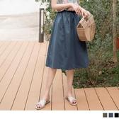 《CA1554》棉麻腰鬆緊純色抓褶A字中長裙 OrangeBear