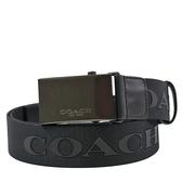 美國正品 COACH 男款 方型釦頭布面寬版皮帶-黑色【現貨】