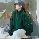 美式復古綠色厚立領拉鏈設計T恤女裝春秋季2021新款韓版寬鬆bf慵懶風套頭上衣潮ins