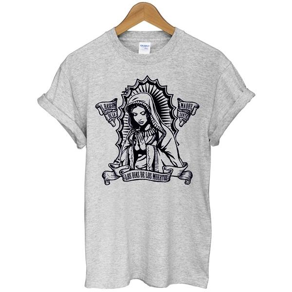 Los Dias短袖T恤 3色聖母祈手huf obey dope風格滑板街頭刺青設計插畫潮流390 gildan